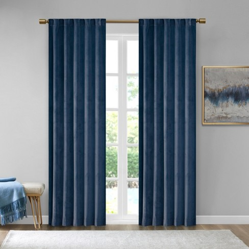 Set Of 2 63 X37 Bryce Poly Velvet Room Darkening Curtain Panels Navy Target
