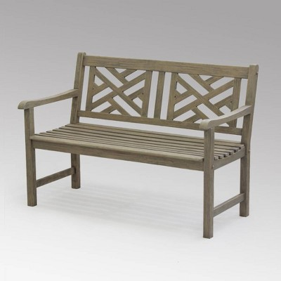 Isla Teak Patio Garden Bench - Weathered Gray - Cambridge Casual