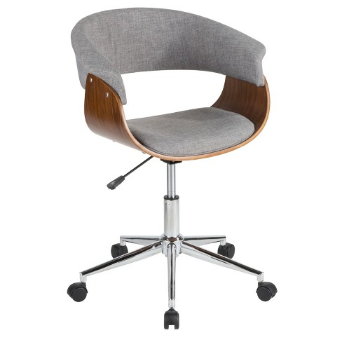 Vintage Mod Mid Century Modern Office Chair Walnut Light Gray Lumisource Target