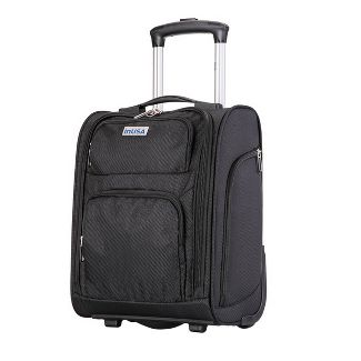 """InUSA 15"""" Wheeled Underseat Ultra-Light Carry On Suitcase- Black"""