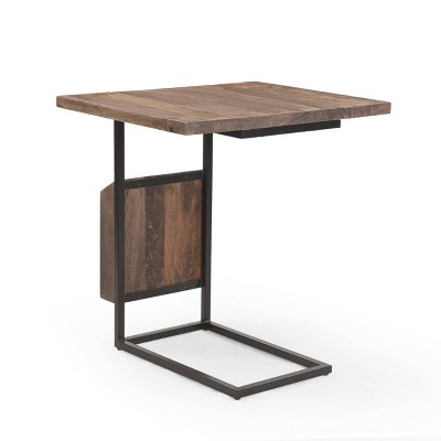 Onzaga Modern Industrial Handcrafted Mango Wood Adjustable C Shaped End Table with Magazine Rack Brown/Gray - Christopher Knight Home