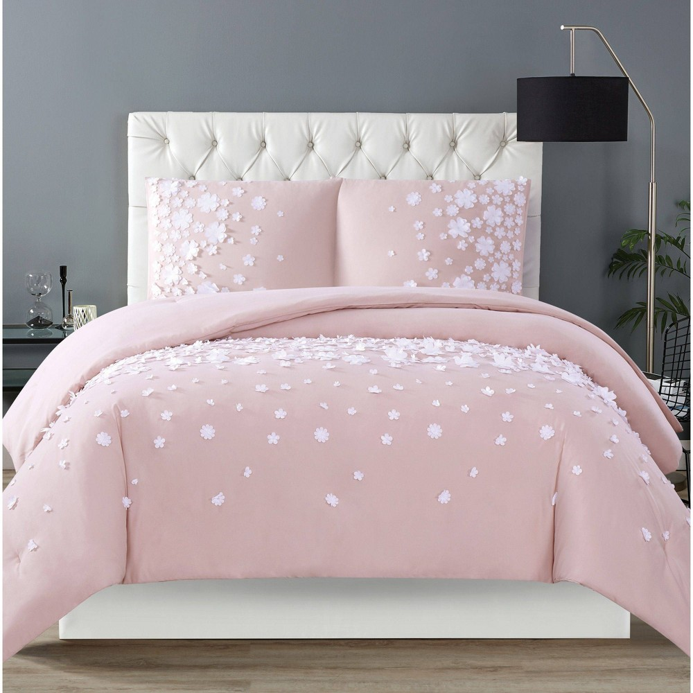 Image of Christian Siriano Confetti Flowers King Comforter Set Blush Pink