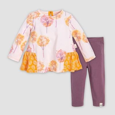 Burt's Bees Baby® Baby Girls' Watercolor Fall Foliage Organic Cotton Tunic & Leggings Set - Purple/Yellow 6-9M