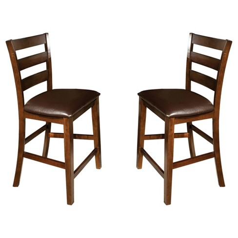"Kona 24"" Ladderback Barstool with Faux Leather Seat Dark Raisin Finish (Set of 2) - Intercon - image 1 of 1"