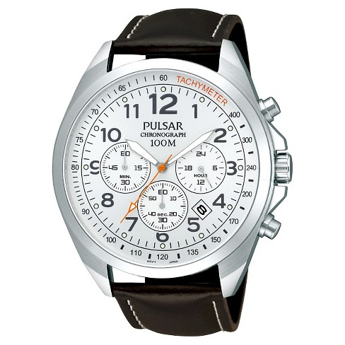 Men's Pulsar Chronograph - Brown Leather Strap with Silver Dial - PT3419X - image 1 of 1