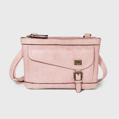 Concept Zip Closure Crossbody Bag - Blush Pink