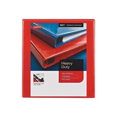 """Staples Heavy Duty 1"""" 3-Ring View Binder Red (24669) 82694"""