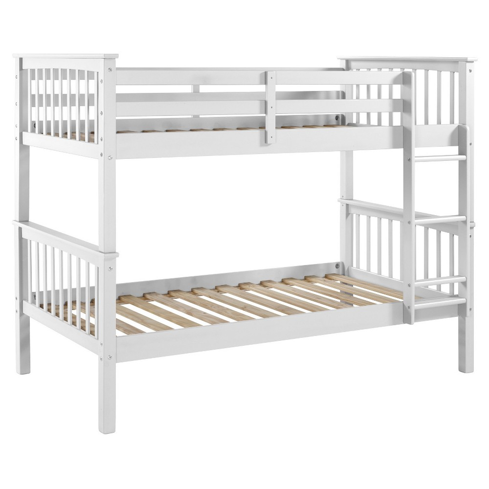Twin Over Twin Solid Wood Mission Design Bunk Bed - White - Saracina Home