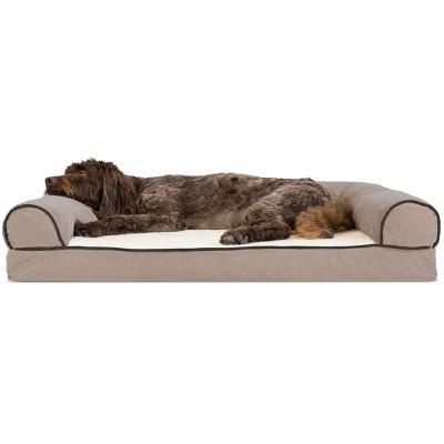 FurHaven Faux Fleece & Chenille Memory Foam Sofa Dog Bed
