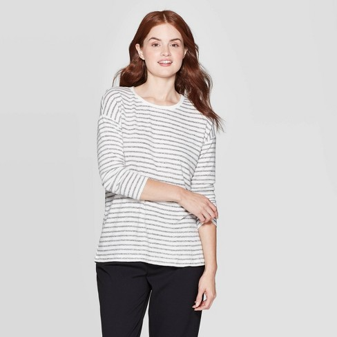 Women's Striped Long Sleeve Crewneck T-Shirt - A New Day™ - image 1 of 3