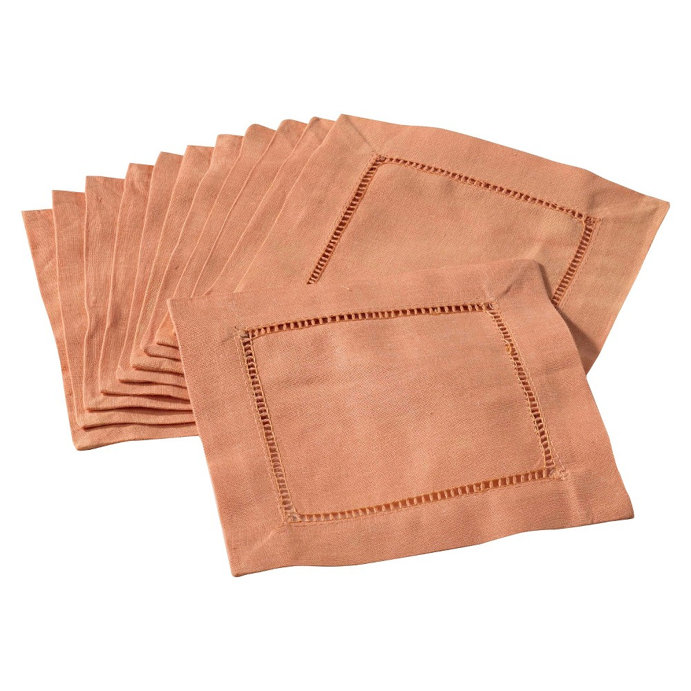 Image of Hemstitched Cocktail Napkins Persimmon (Set of 12), Persimmon Orange