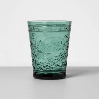 16oz Plastic Floral Embossed Short Tumbler Green - Opalhouse™