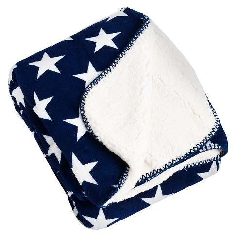 "Navy Blue Star Design Sherpa Throw (50""X60"") - image 1 of 1"