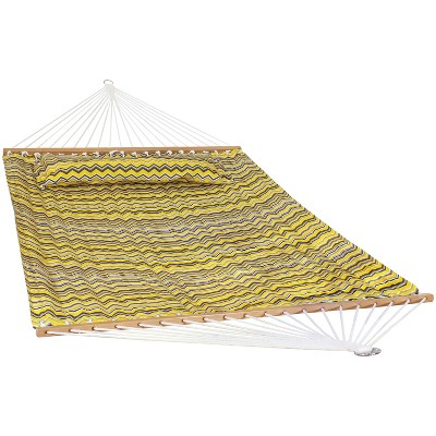 2-Person Quilted Printed Fabric Spreader Bar Hammock and Pillow - Yellow and Gray Chevron - Sunnydaze Decor
