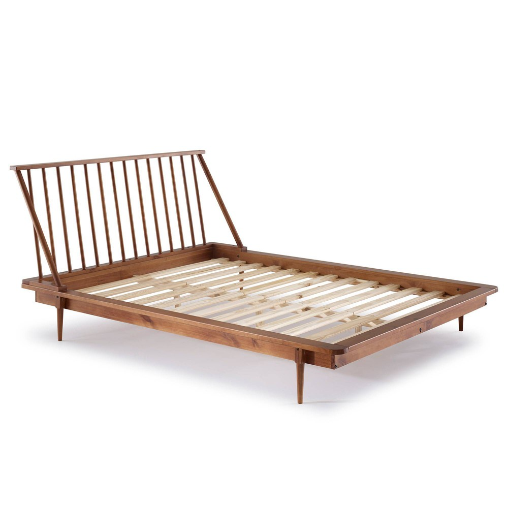 Queen Mid Century Modern Solid Wood Spindle Bed Caramel - Saracina Home
