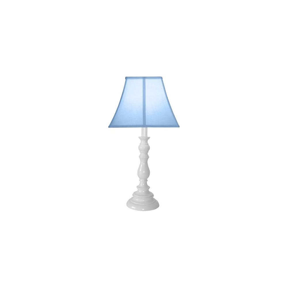 Image of White Resin Table Lamp - Light Blue