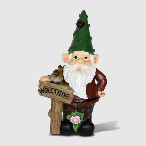 """22"""" Resin Solar Red Gnome Leaning On Welcome Sign Red - Exhart - image 1 of 2"""