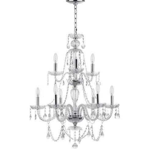 "Aura 9 Light ""26"" Dia Adjustable Beaded Chandelier Chrome / Clear - Safavieh® - image 1 of 2"
