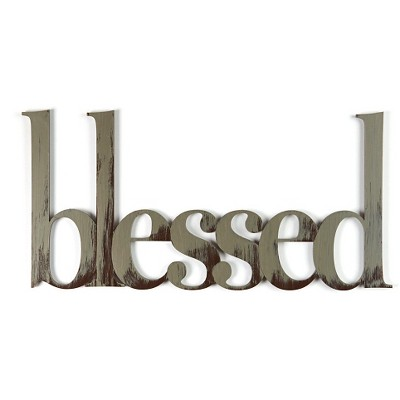 Letter2Word Hand Painted Blessed 3D Wall Sculpture - Nickel