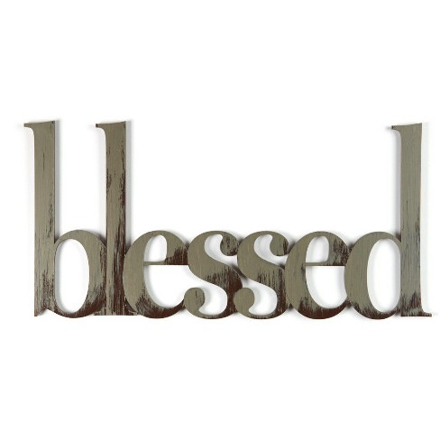 Letter2Word Hand Painted Blessed 3D Wall Sculpture - Nickel - image 1 of 1