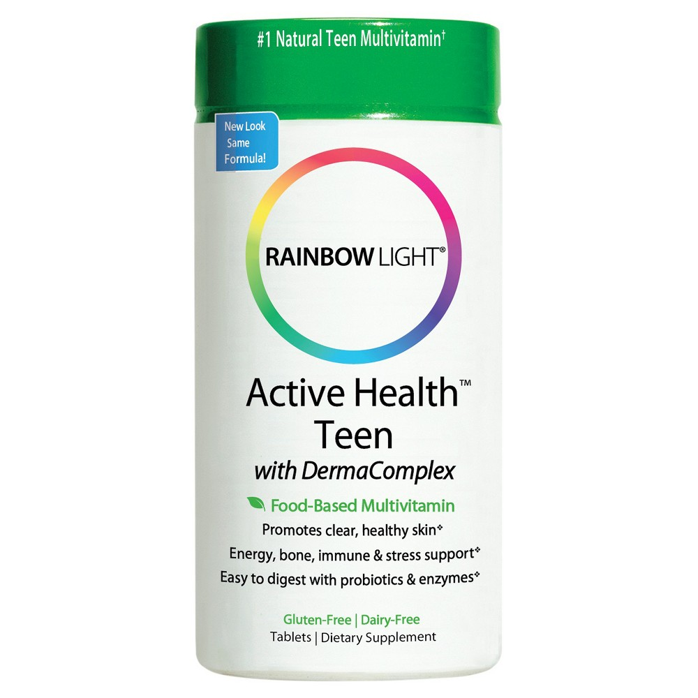 Rainbow Light Active Health Teen Multivitamin / Mineral Dietary Supplement Tablets - 60ct Active Teen Multivitamin/Mineral Dietary Supplement Tablets from Rainbow Light are powerful multivitamin dietary supplements designed to give teens the health and energy boosts they need. Active Teen provides ordinary daily multivitamin nutrients and boosts while also supporting clear skin and enhanced energy levels. Gender: Unisex. Age Group: Adult.