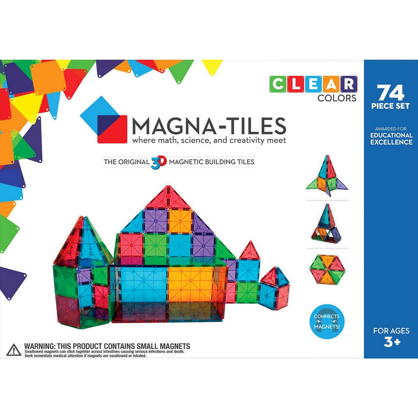 Valtech Magna-Tiles Clear Colors 74 Piece Set - image 1 of 7