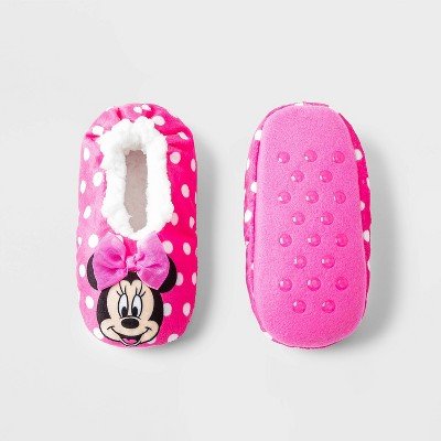 Toddler Girls' Minnie Mouse Slipper Socks - Pink