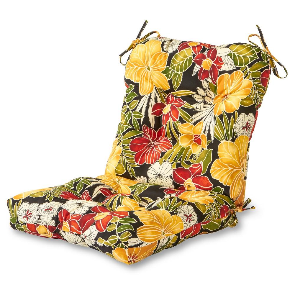 Image of Aloha Black Floral Outdoor Seat/Back Chair Cushion - Kensington Garden