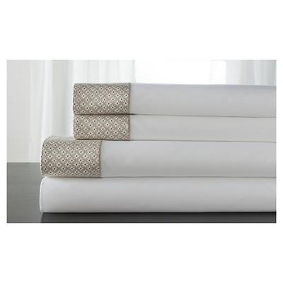 Adara 100% Cotton Printed Hem 400TC Sheet Set (Queen)Tan