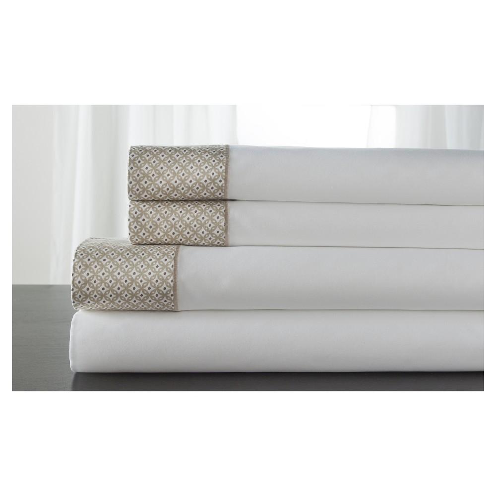 Image of Adara 100% Cotton Printed Hem 400TC Sheet Set (California King) Tan