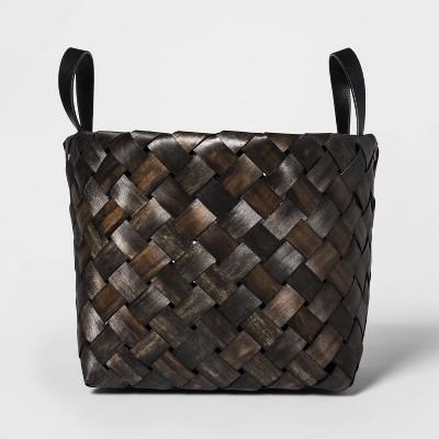 Woven Chipwood Decorative Basket Dark Natural 11 x13.75  - Threshold™