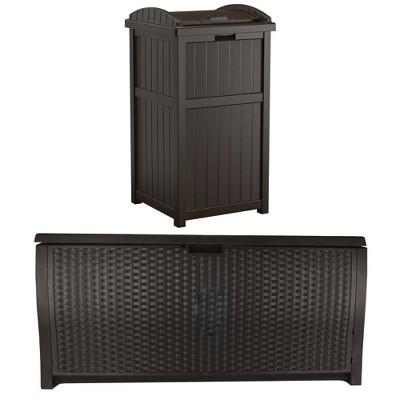 Suncast Trash Hideaway Outdoor 33 Gallon Garbage & 99 Gallon Backyard Pool Box
