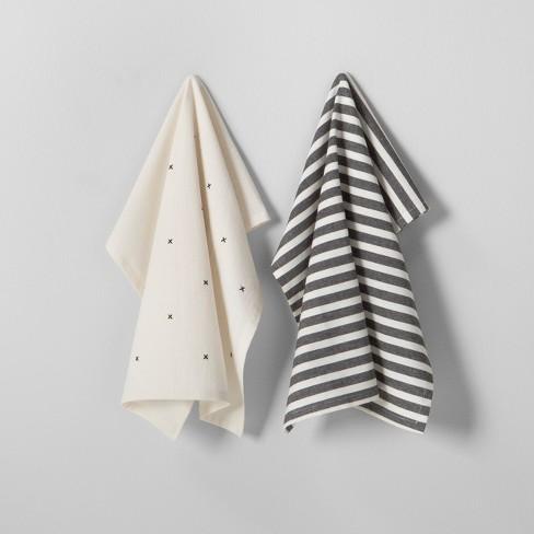 2pk Kitchen Towel Set Black Cream Hearth Hand With Magnolia