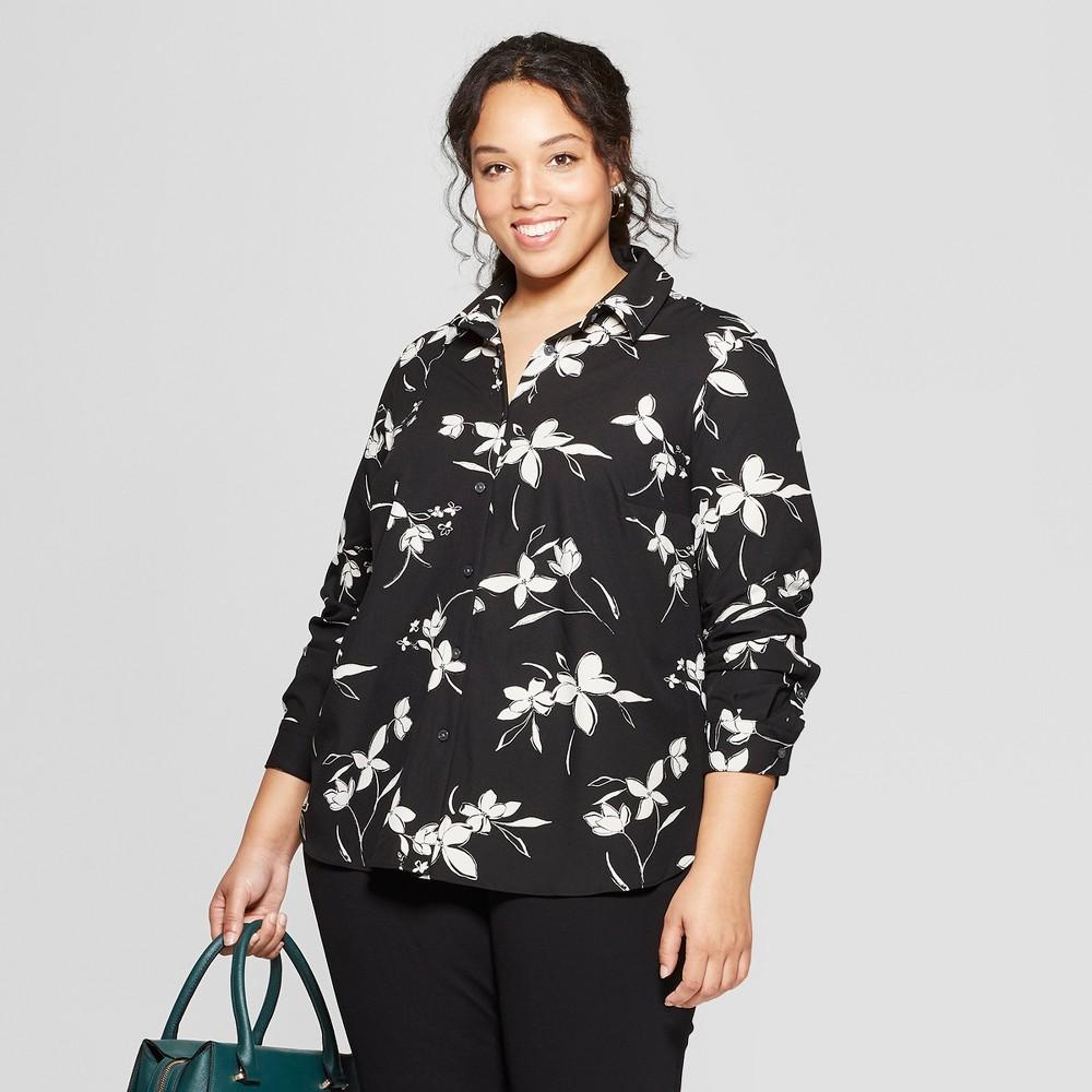 Women's Plus Size Floral Print Long Sleeve Collared Button-Down Blouse - Ava & Viv Black 2X