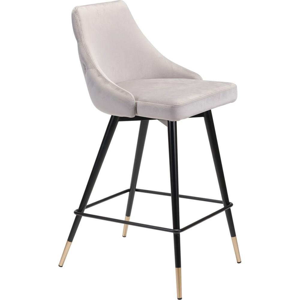 26 Luxe Velvet Counter Chair Gray - ZM Home
