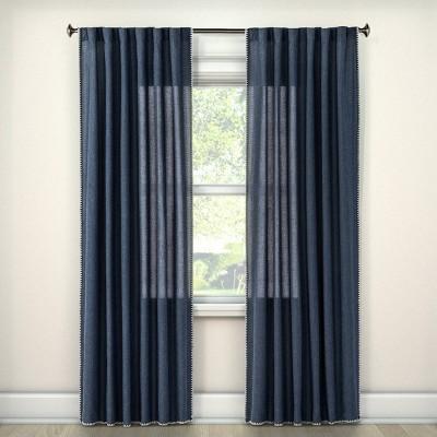 "108""x54"" Stitched Edge Light Filtering Curtain Panel Navy - Threshold™"