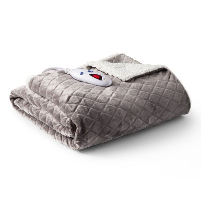 Velour with Sherpa Diamond Electric Throw (62 x50 )Gray - Biddeford Blankets