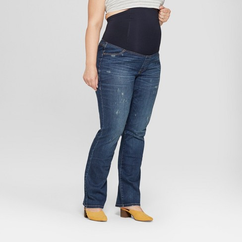 Maternity Plus Size Crossover Panel Bootcut Jeans - Isabel Maternity by Ingrid & Isabel™ Dark Wash - image 1 of 4