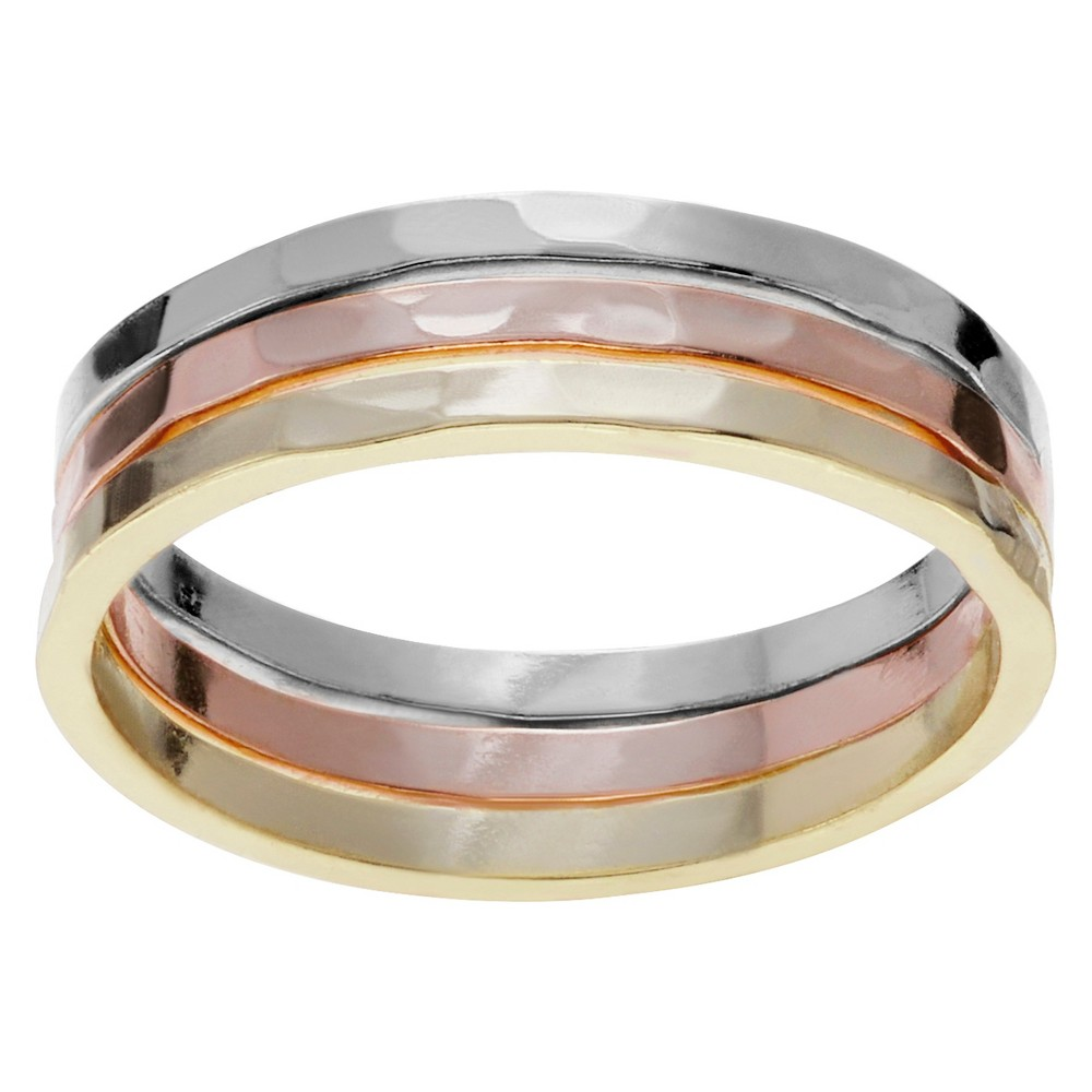 Women's Journee Collection Hammered Trio Ring Set in Sterling Silver - Multicolor, 8, Multi-Colored