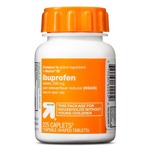 Ibuprofen (NSAID) 200mg Pain Relief & Fever Reducer Caplets Easy Open Cap- 225ct - Up&Up™ (Compare to active ingredient in Motrin IB) - image 1 of 1