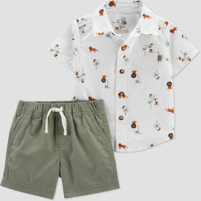 Baby Boys' Safari Top & Bottom Set - Just One You® made by carter's Olive 18M