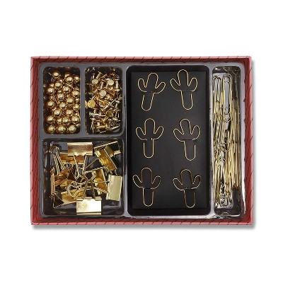 Paper Junkie 126-Piece Cactus Metallic Gold Paper Clips, Push Pins, Binder Clips Set with Box