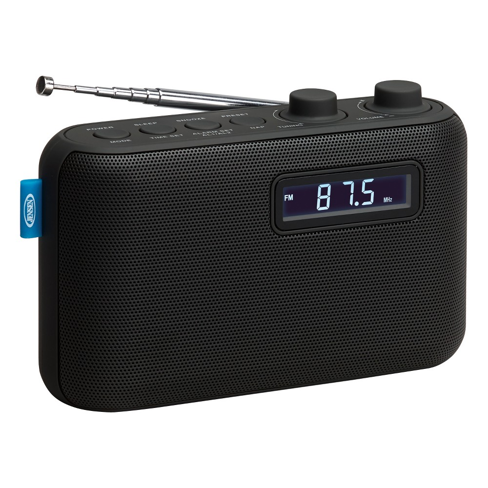 Jensen Portable AM/FM Digital Radio - Black (SR-50) The Jensen SR-50 portable AM/FM digital radio can go anywhere you go. The radio features a rubberized finish, digital Pll tuning with 10 AM+10 FM presets and backlit Lcd display. It's also a dual alarm clock with snooze function and wake to radio or alarm. Never miss a favorite sports team game, listen to your favorite radio station or catch up on the latest news. The unit operates on 4 x  aa  batteries (not included). Color: Black.