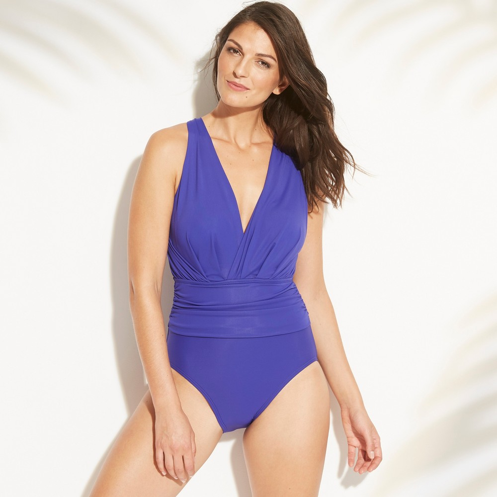 Women's Shirred Open Back One Piece Swimsuit - Aqua Green Sapphire (Blue) L
