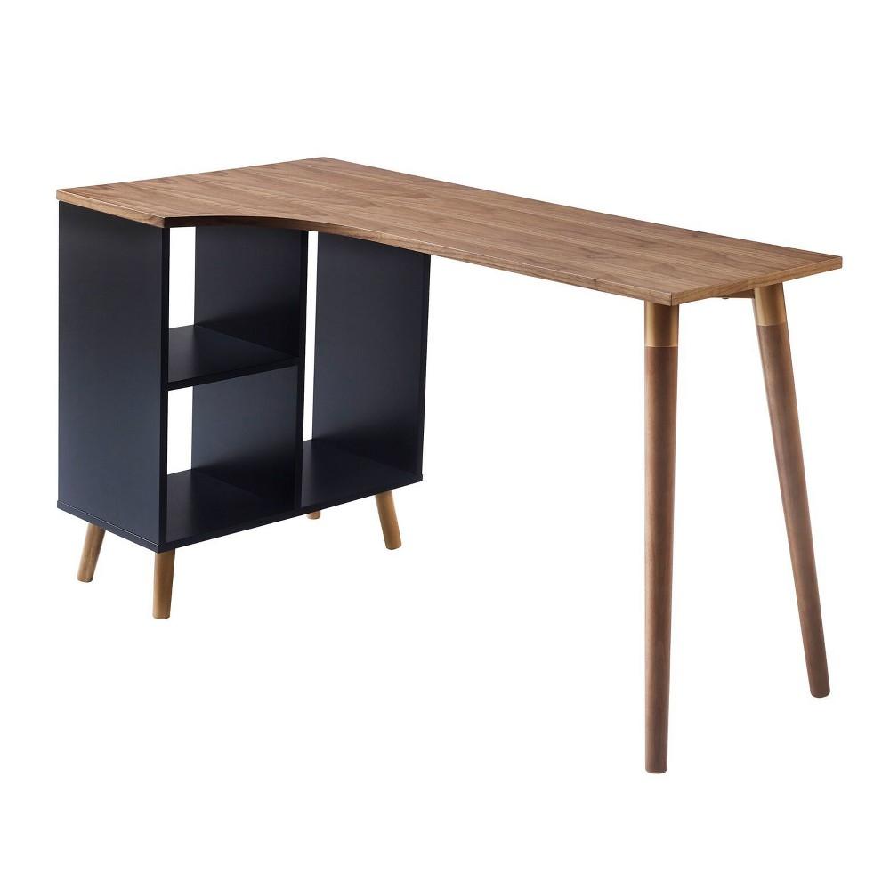 Image of Bloccare Office Desk Walnut/Black - Versanora