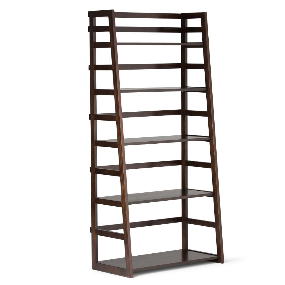 Normandy Solid Wood Ladder Shelf Bookcase Tobacco Brown - Wyndenhall