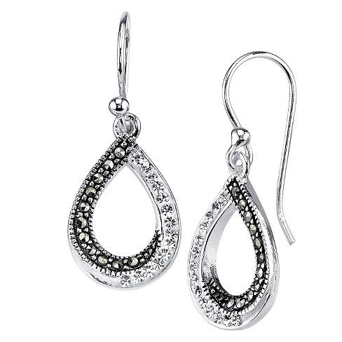 """Women's Silver Plated Marcasite and Crystal Teardrop Twist Earring - Silver (1.0"""") - image 1 of 1"""
