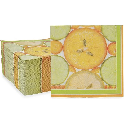 "Sparkle and Bash 150 Pack Citrus Fruit Disposable Paper Napkins 6.5"" for Summer Party Decorations"