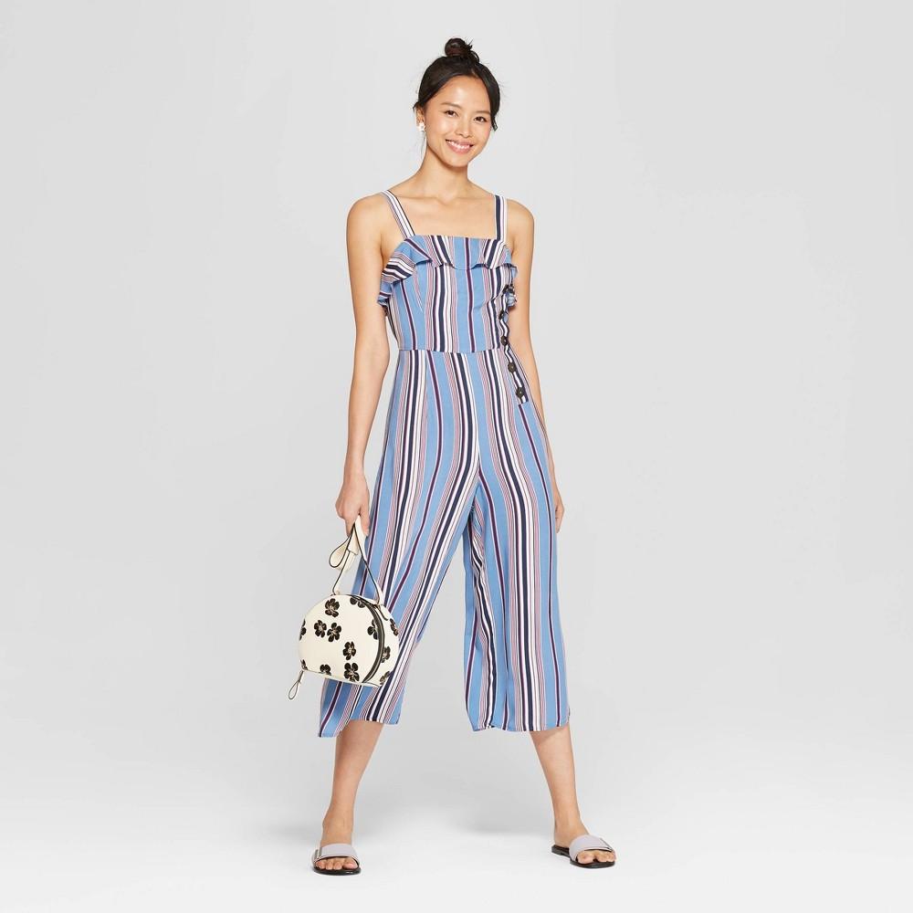 Women's Striped Strappy Ruffle Trim Side Button Cropped Jumpsuit - Xhilaration Blue XS