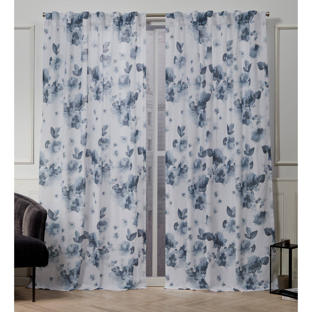 "Image of ""50""""x108"""" Kristy Back Tab Light Filtering Window Curtain Panels Indigo - Nicole Miller"""